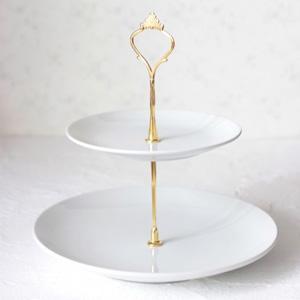ポーセラーツ白磁:2段エタージェラ (メタプレート) ゴールド