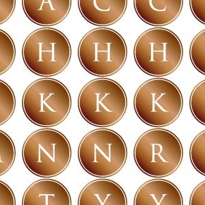 ポーセラーツ転写紙:ALPHABET MARK CIRCLE (アルファベットマーク サークル・ブライトゴールド)