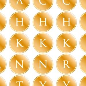 ポーセラーツ転写紙:ALPHABET MARK CIRCLE (アルファベットマーク サークル・メタリックゴールド)