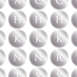 ポーセラーツ転写紙:ALPHABET MARK CIRCLE (アルファベットマーク サークル・メタリックシルバー)