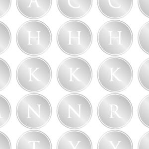 ポーセラーツ転写紙:ALPHABET MARK CIRCLE (アルファベットマーク サークル・ブライトプラチナ)
