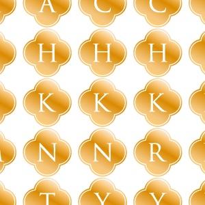 ポーセラーツ転写紙:ALPHABET MARK CLOVER (アルファベットマーク クローバー・メタリックゴールド)