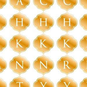 ポーセラーツ転写紙:ALPHABET MARK CLOVER (アルファベットマーク モロッカン・メタリックゴールド)