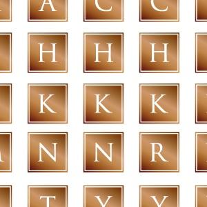 ポーセラーツ転写紙:ALPHABET MARK CLOVER (アルファベットマーク スクエア・ブライトゴールド)
