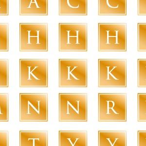 ポーセラーツ転写紙:ALPHABET MARK CLOVER (アルファベットマーク スクエア・メタリックゴールド)