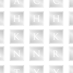 ポーセラーツ転写紙:ALPHABET MARK CLOVER (アルファベットマーク スクエア・ブライトプラチナ)