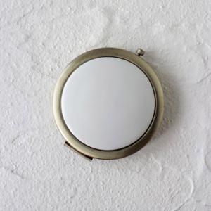 ポーセラーツ白磁:コンパクトミラー (アンティークゴールド)