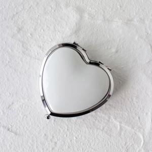 ポーセラーツ白磁:ハート型コンパクトミラー (シルバー)