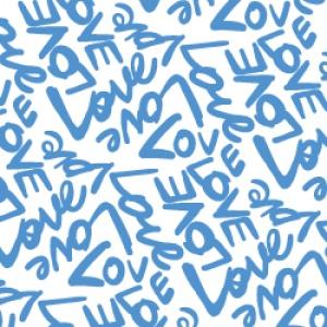 ポーセラーツ転写紙:LOVE (ラブ・オーシャンブルー)
