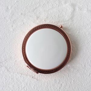 ポーセラーツ白磁:模様入りコンパクトミラー (ピンクゴールド)