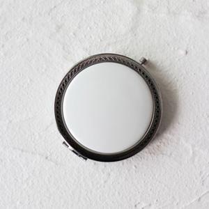 ポーセラーツ白磁:模様入りコンパクトミラー (シルバー)
